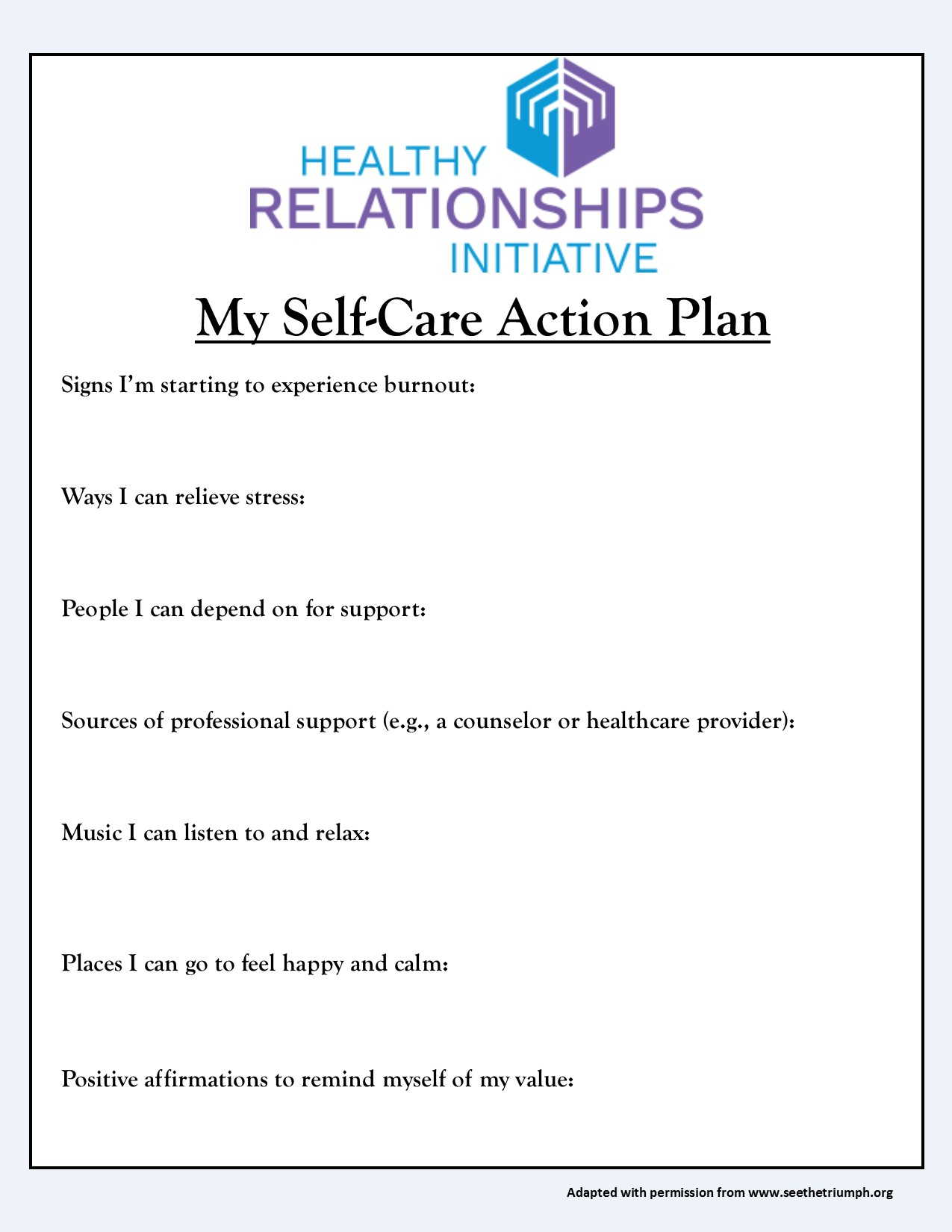 self care plan Self-care assessment worksheet this assessment tool provides an overview of effective strategies to maintain self-care after completing the full.